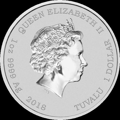 Тувалу монета 1 доллар 2018 год, серебро, аверс