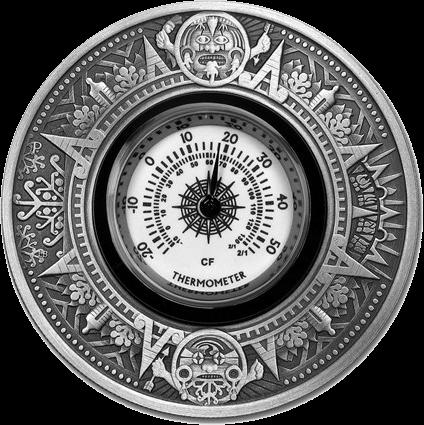 Тувалу монета 2 доллара Античный термометр, реверс
