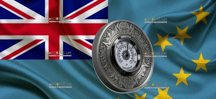 Тувалу монета 2 доллара Античный термометр