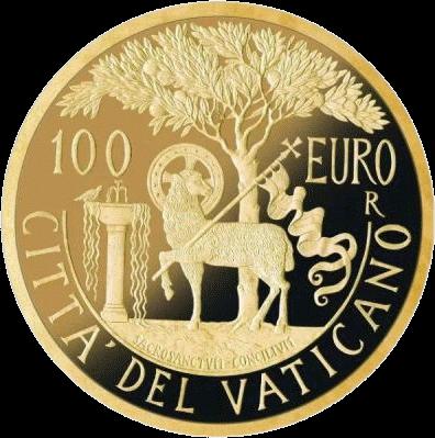 Ватикан монета 100 евро Литургия, аверс