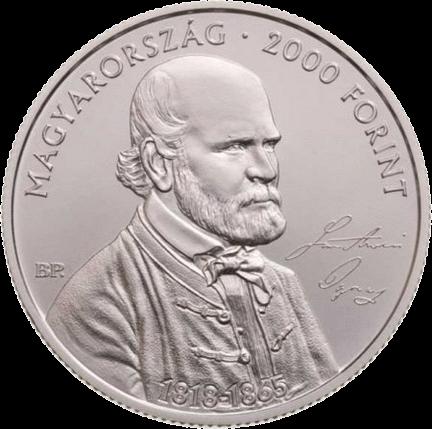 Венгрия монета 2000 форинтов Игнац Земмельвейс, аверс