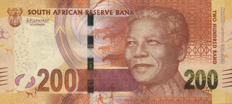 ЮАР памятная банкнота 200 рандов Нельсон Мандела, лицевая сторона