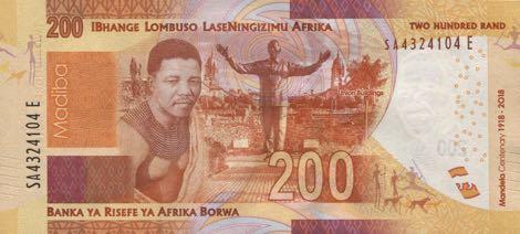 ЮАР памятная банкнота 200 рандов Нельсон Мандела, оборотная сторона
