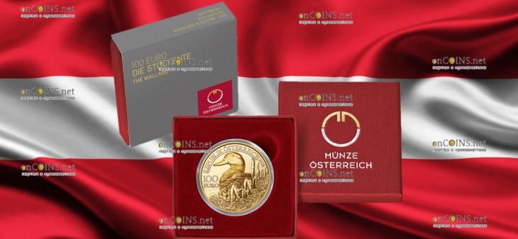 Австрия монета 100 евро Кряква, подарочная упаковка