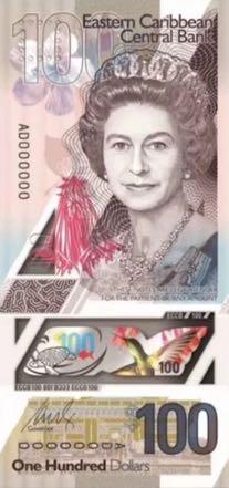 банкнота 100 восточнокарибских долларов, 2019 год, лицевая сторона