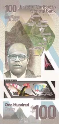 банкнота 100 восточнокарибских долларов, 2019 год, оборотная сторона