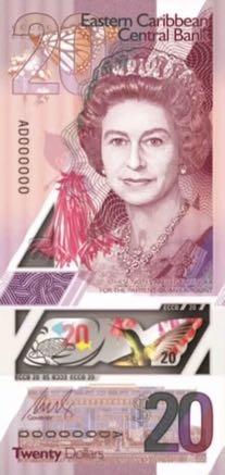 банкнота 20 восточнокарибских долларов, 2019 год, лицевая сторона
