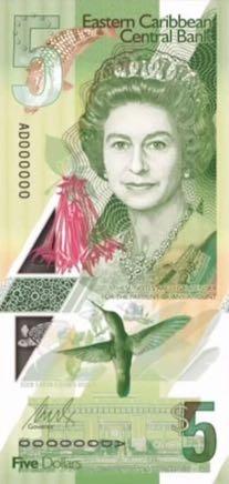 банкнота 5 восточнокарибских долларов, 2019 год, лицевая сторона
