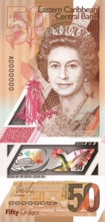 банкнота 50 восточнокарибских долларов, 2019 год, лицевая сторона