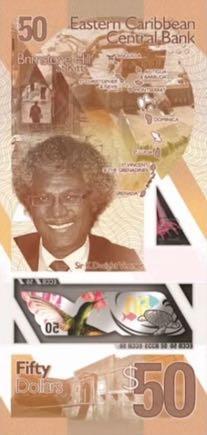 банкнота 50 восточнокарибских долларов, 2019 год, оборотная сторона