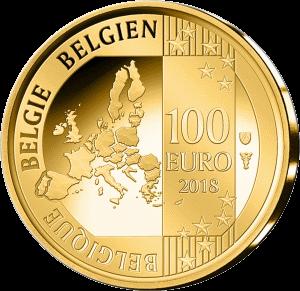 Бельгия монета 100 евро 25 лет со дня кончины короля Бельгии Бодуэн, аверс