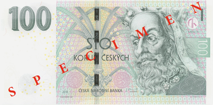 Чехия банкнота 100 крон, 2018, лицевая сторона