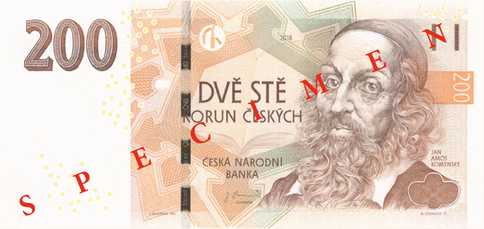 Чехия банкнота 200 крон, 2018, лицевая сторона