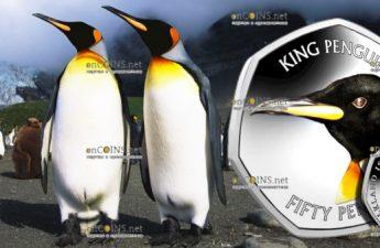 Фолкылендские острова монета 50 пенсов Королевский пингвин