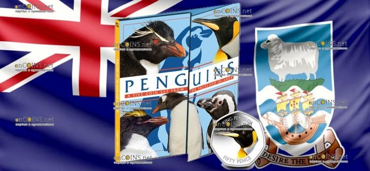 Фолклендские острова монета 50 пенсов Королевский пингвин, подарочная упаковка