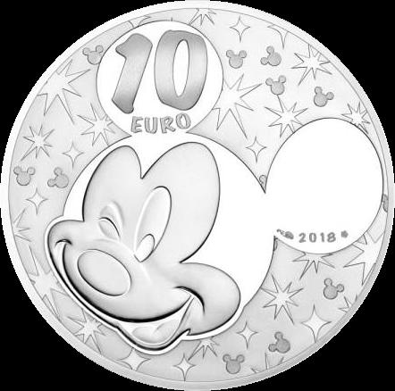 Франция монета 10 евро Микки и Минни Маус, аверс