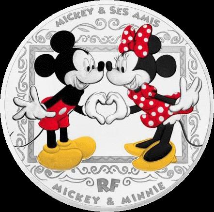 Франция монета 10 евро Микки и Минни Маус, реверс