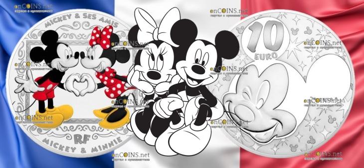 Франция монета 10 евро Микки и Минни Маус