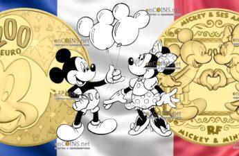 Франция монета 200 евро Микки и Минни Маус