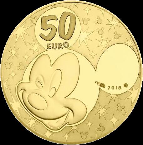 Франция монета 50 евро Дональд и Дейзи, аверс