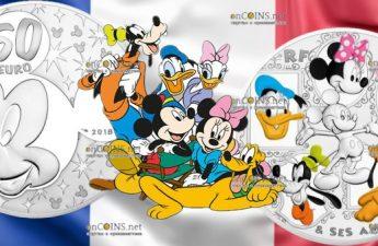 Франция монета 50 евро Микки и друзья