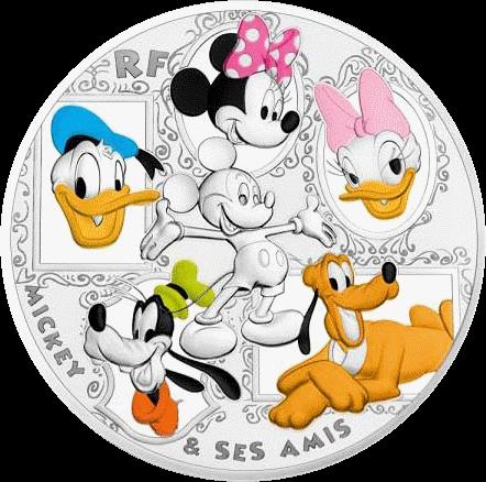 Франция монета 50 евро Микки и друзья, реверс