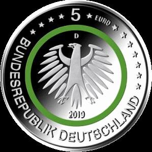 Германия монета 5 евро Умеренная зона, аверс