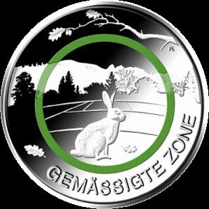 Германия монета 5 евро Умеренная зона, реверс