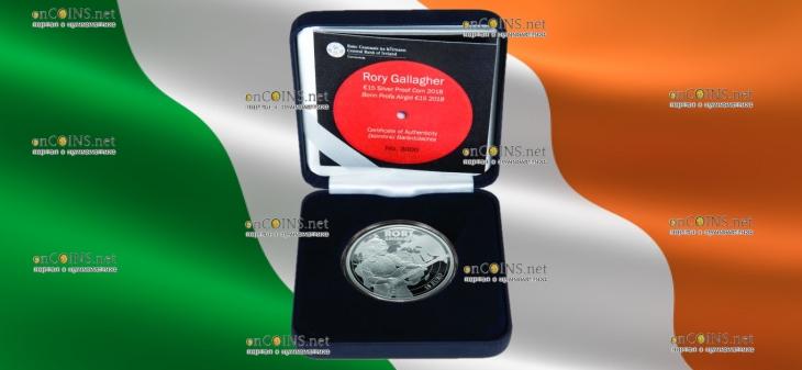 Ирландия монета 15 евро Рори Галлахер, подарочная упаковка