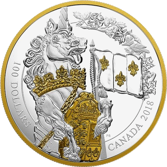 Канада монета 100 долларов Единорог, реверс