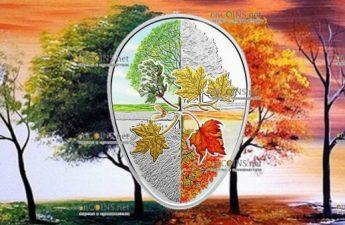 Канаде монета 20 долларов Четыре сезона кленового листа