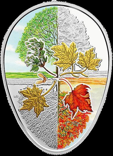 Канаде монета 20 долларов Четыре сезона кленового листа, реверс