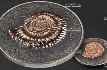 Монголия монета 20000 тугриков Аммониты