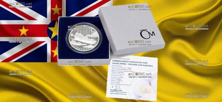 Ниуэ монета 1 доллар Дирижабль Альбатрос, подарочная упаковка