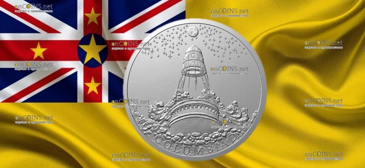 Ниуэ монета 1 доллар Лунная пушка Колумбиада
