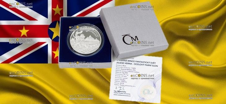 Ниуэ монета 1 доллар Паровой механический слон, подарочная упаковка