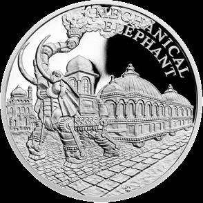 Ниуэ монета 1 доллар Паровой механический слон, реверс