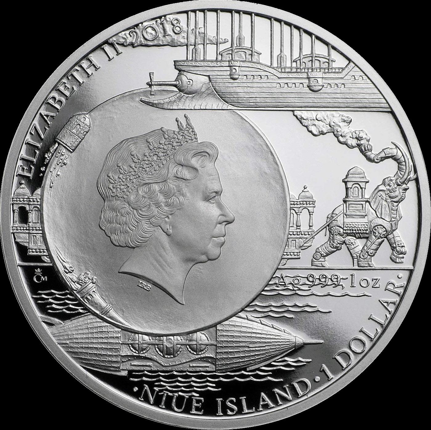 Ниуэ монета 1 доллар серия Фантастический мир Жюля Верна 2018, аверс
