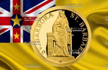 Ниуэ монета 5 долларов Святая Барбара