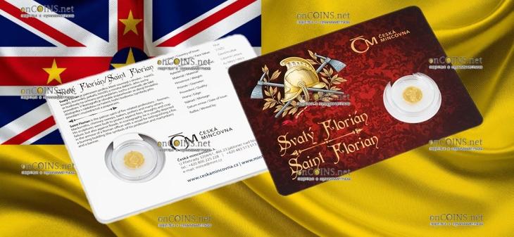 Ниуэ монета 5 долларов Святой Флориан, подарочная упаковка