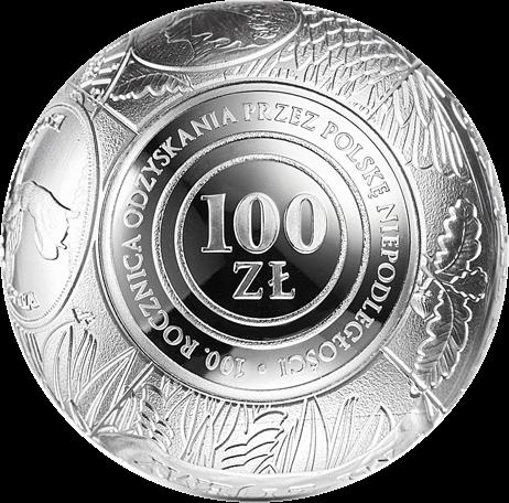 Польша монета 100 злотых 100 лет восстановления независимости Польши, реверс