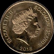 Соломоновы острова монета 2 доллара 40-летия Независимости, аверс