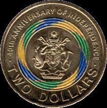 Соломоновы острова монета 2 доллара 40-летия Независимости, реверс