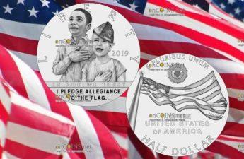 США монета 0,5 доллара 100-летие Американского легиона