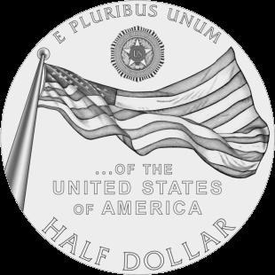 США монета 0,5 доллара 100-летие Американского легиона, аверс