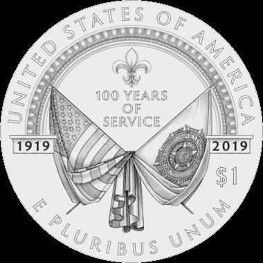 США монета 1 доллар 100-летие Американского легиона, аверс