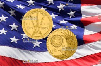 США монета 5 долларов 100-летие Американского легиона
