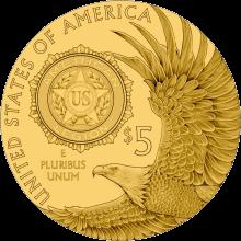 США монета 5 долларов 100-летие Американского легиона, аверс