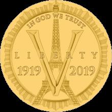 США монета 5 долларов 100-летие Американского легиона, реверс
