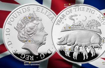 Великобритания монета 10 фунтов Год Свиньи 2019, серебро